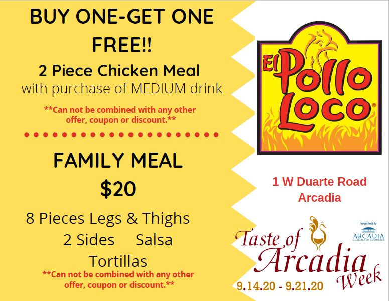 El Pollo Loco offers Buy-One-Get-One FREE During Taste Week