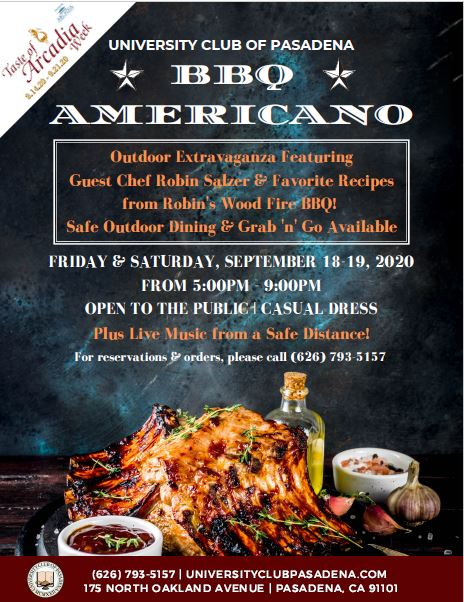 University Club BBQ Americana for Taste of Arcadia week